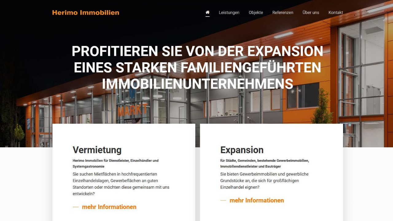 Herimo Immobilien Homepage